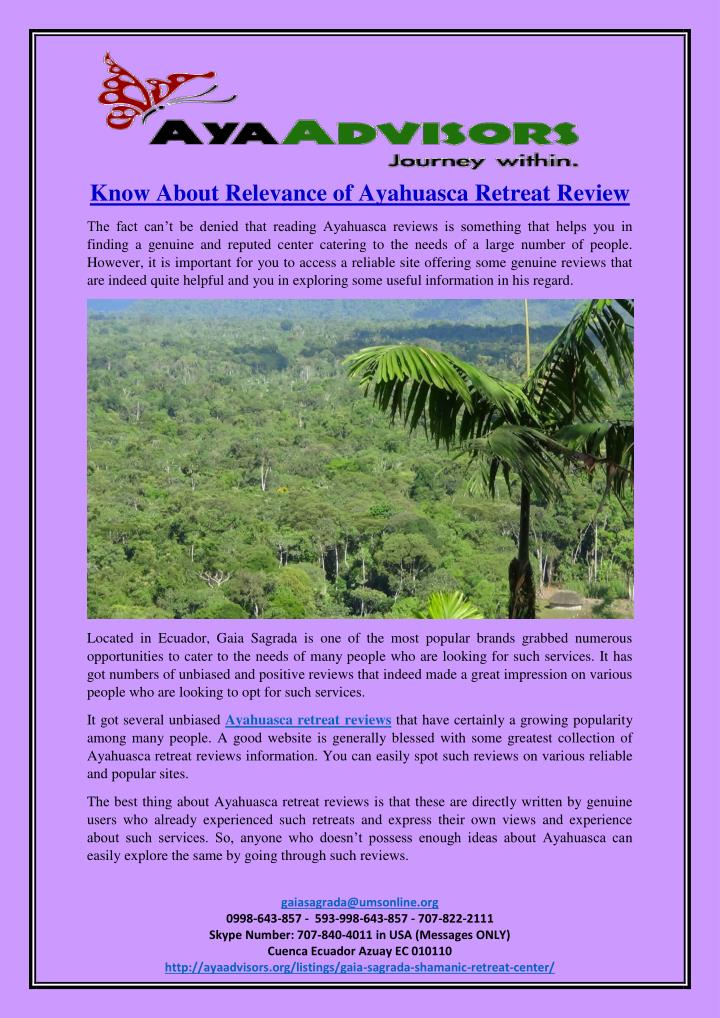 Know About Relevance of Ayahuasca Retreat Review