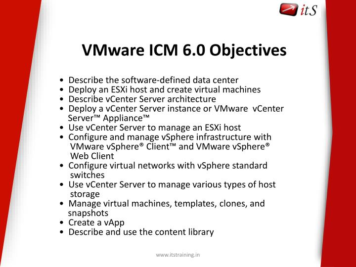 VMware ICM 6.0 Objectives