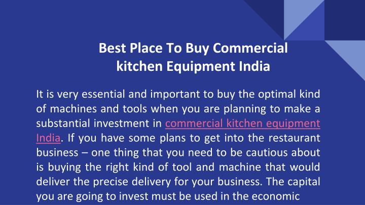 Best place to buy commercial kitchen equipment india