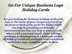 go for unique business logo holiday cards