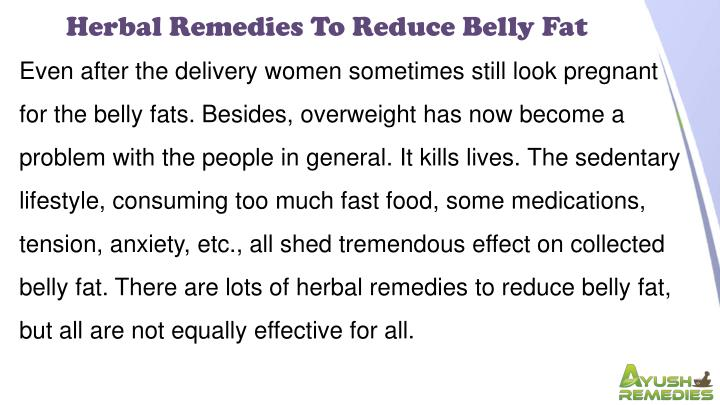 Herbal Remedies To Reduce Belly Fat