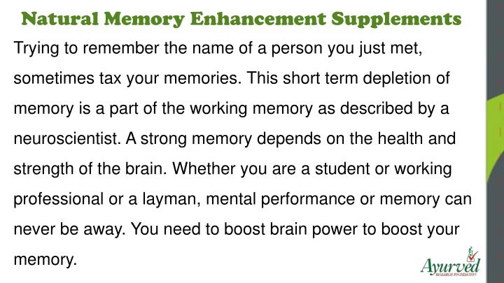Natural Memory Enhancement Supplements