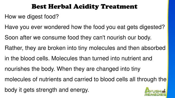 Best Herbal Acidity Treatment