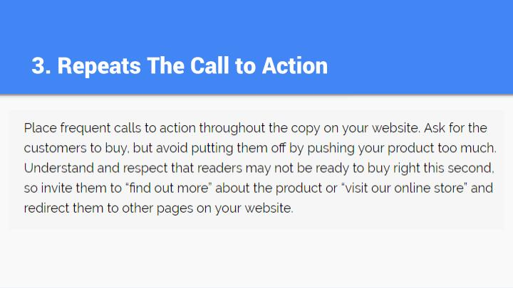 3. Repeats The Call to Action