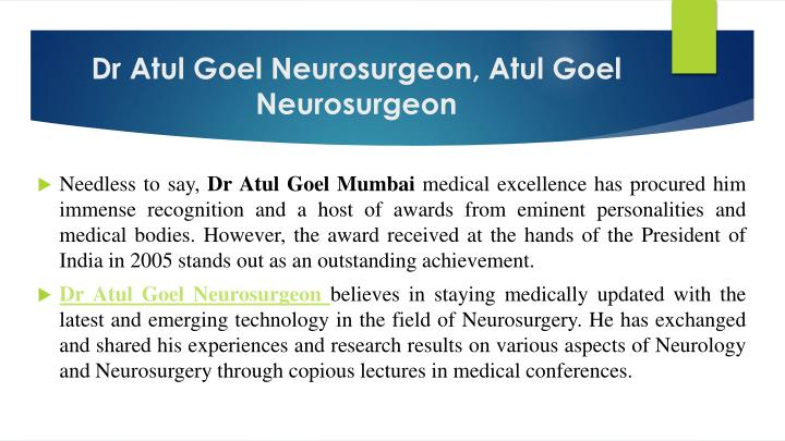 Dr Atul Goel Neurosurgeon, Atul Goel Neurosurgeon