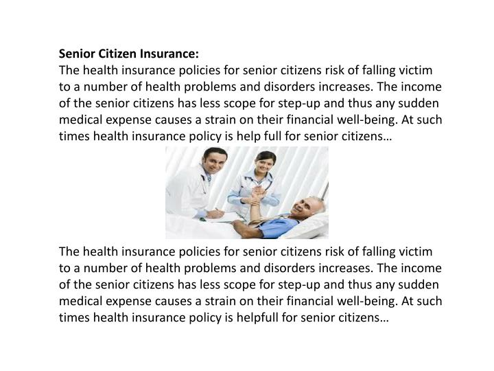 Senior Citizen Insurance: