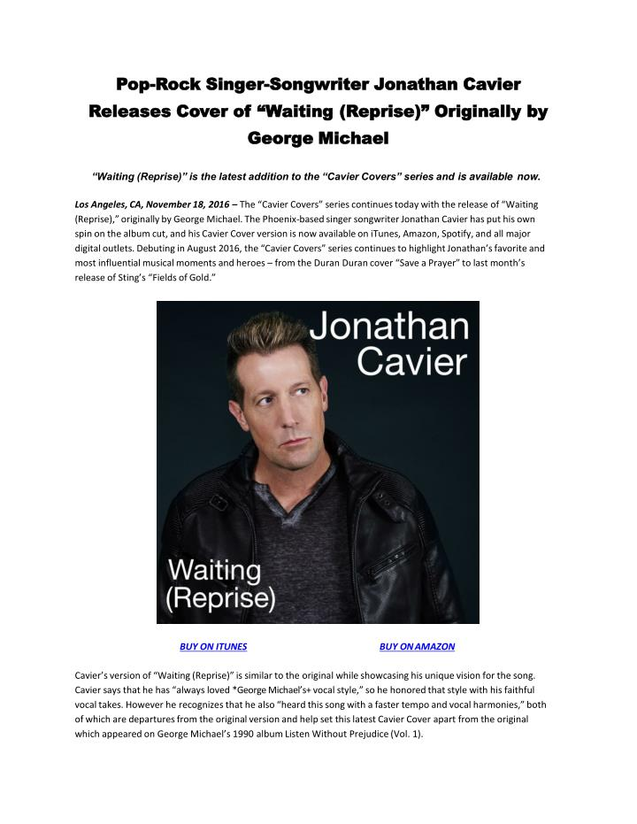 Pop-Rock Singer-Songwriter Jonathan Cavier  Releases Cover of