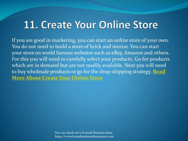11. Create Your Online Store
