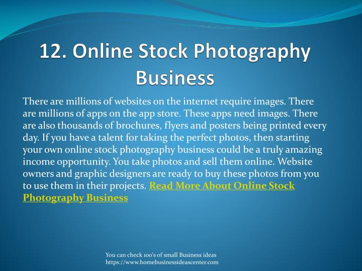12. Online Stock Photography Business