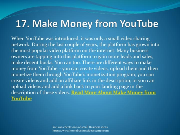 17. Make Money from YouTube