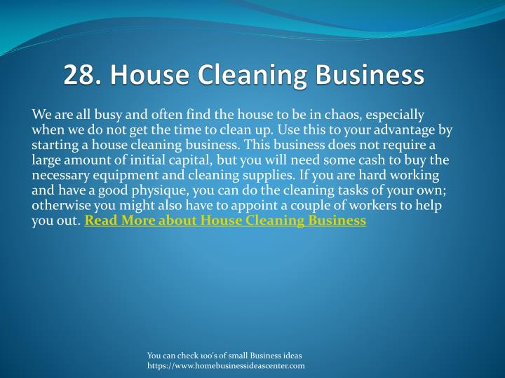 28. House Cleaning Business