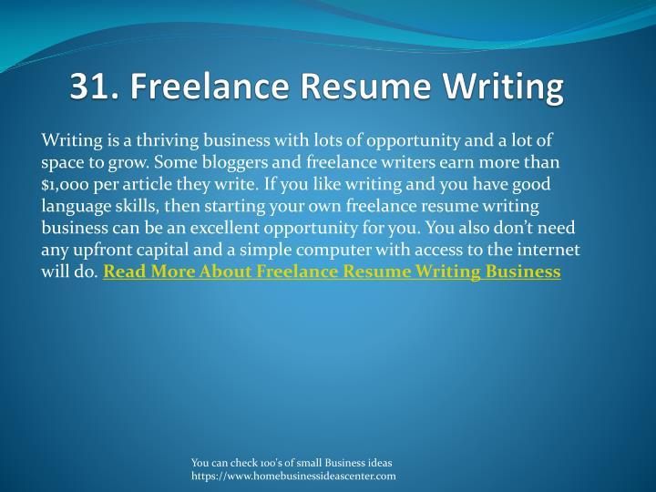 31. Freelance Resume Writing