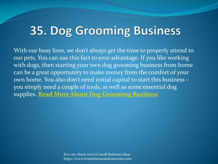 35. Dog Grooming Business