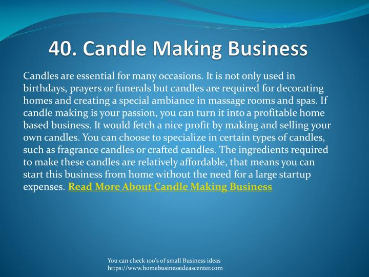 40. Candle Making Business