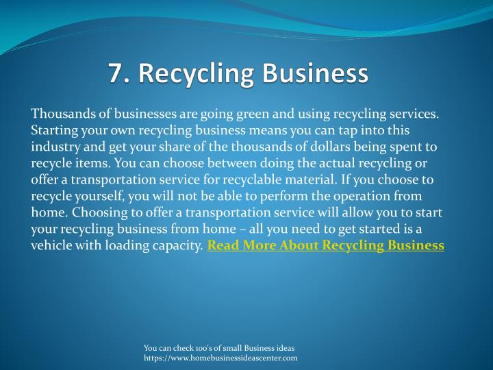 7. Recycling Business