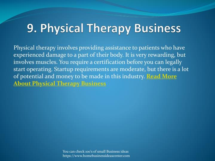 9. Physical Therapy Business