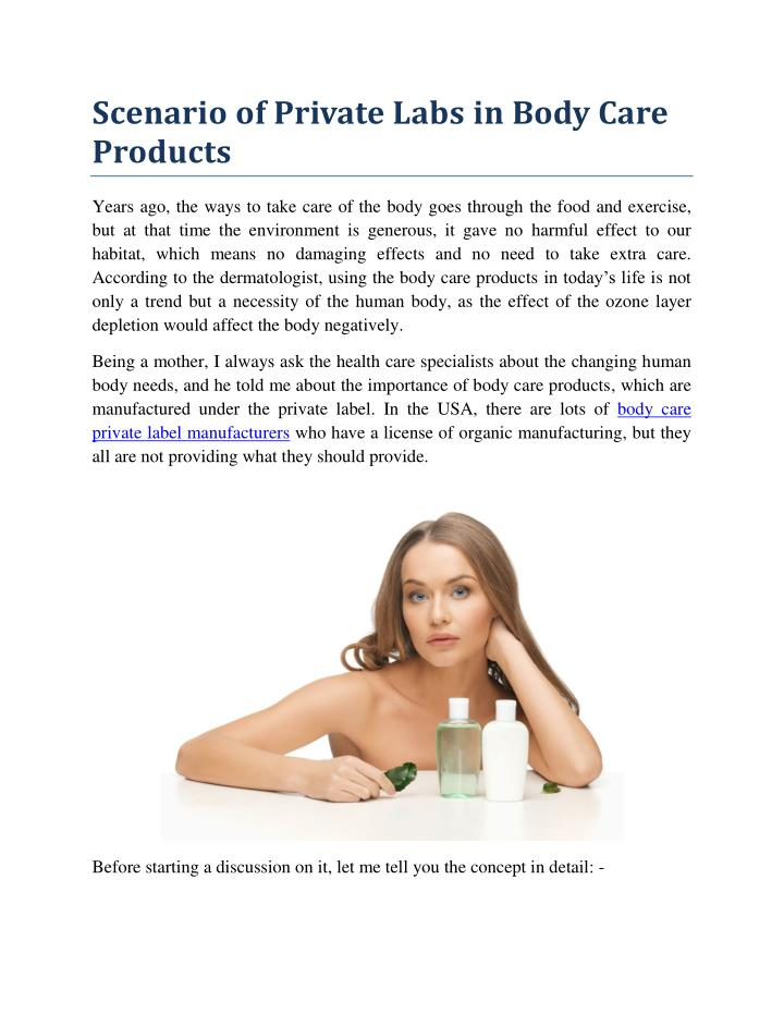 Scenario of Private Labs in Body Care