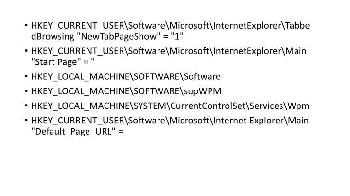 "HKEY_CURRENT_USER\Software\Microsoft\InternetExplorer\TabbedBrowsing ""NewTabPageShow"" = ""1"""