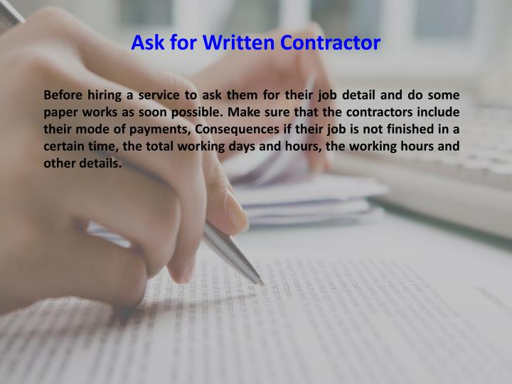 Ask for Written Contractor