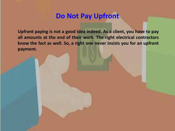 Do Not Pay Upfront