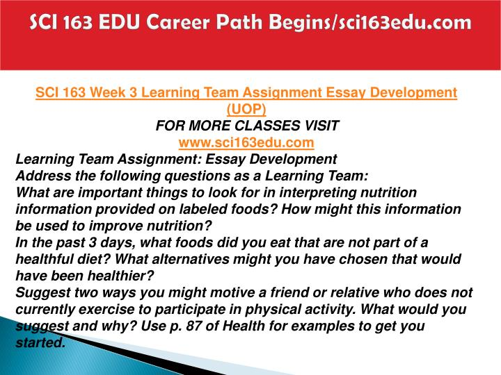SCI 163 EDU Career Path Begins/sci163edu.com