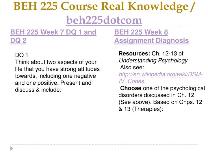 BEH 225 Course Real Knowledge /