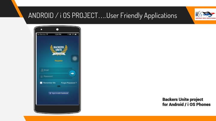 ANDROID / i OS PROJECT….User Friendly Applications