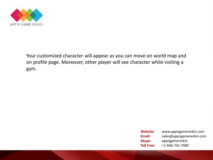 Your customized character will appear as you can move on world map and