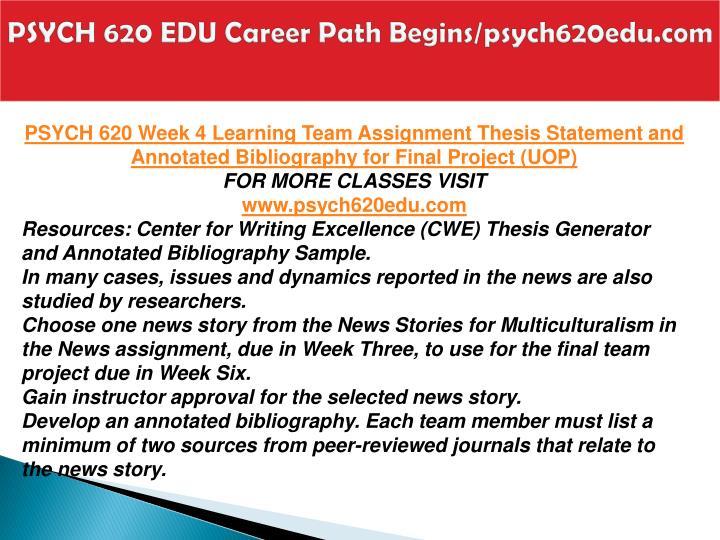 PSYCH 620 EDU Career Path Begins/psych620edu.com