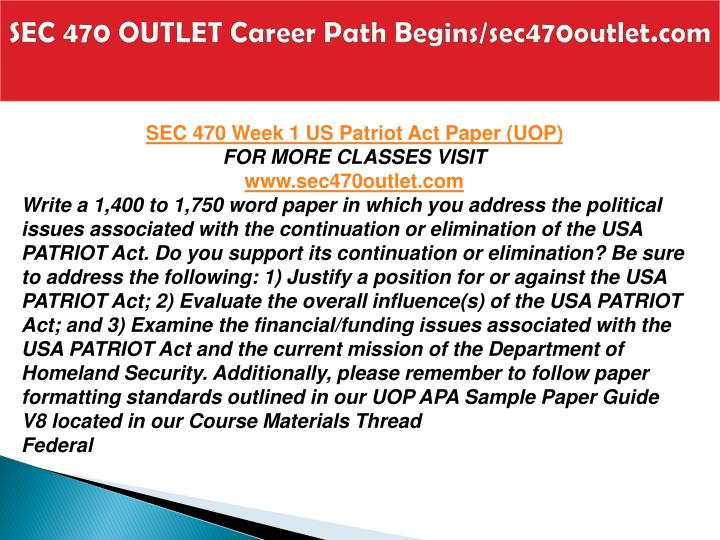 Sec 470 outlet career path begins sec470outlet com2