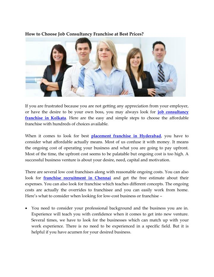 How to Choose Job Consultancy Franchise at Best Prices?