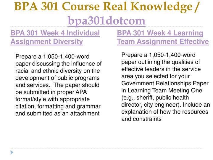 BPA 301 Course Real Knowledge /