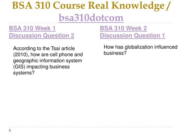 BSA 310 Course Real Knowledge /