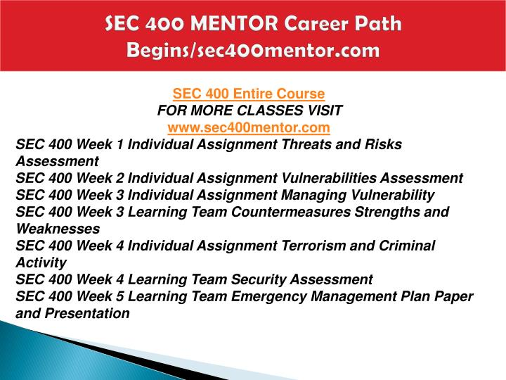 Sec 400 mentor career path begins sec400mentor com1