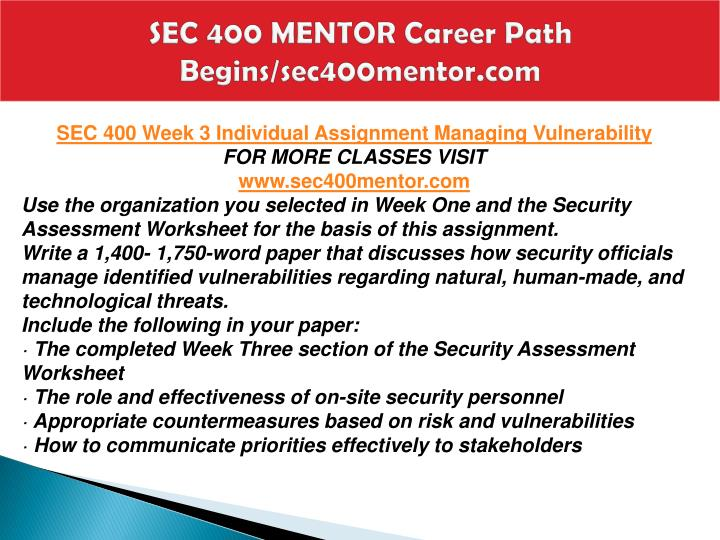 SEC 400 MENTOR Career Path Begins/sec400mentor.com