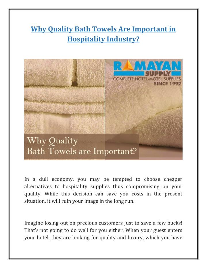 Why Quality Bath Towels Are Important in