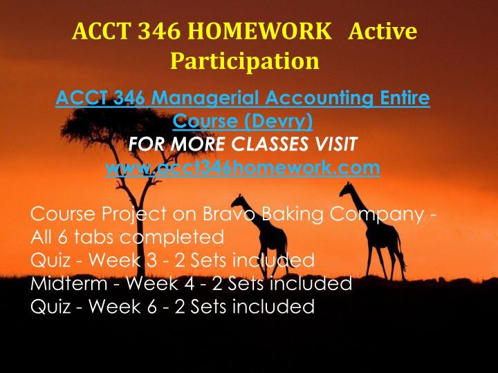 ACCT 346 HOMEWORK   Active