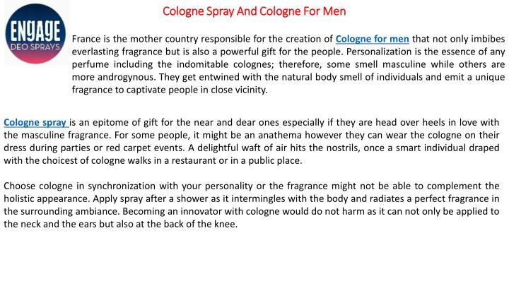Cologne spray and cologne for men