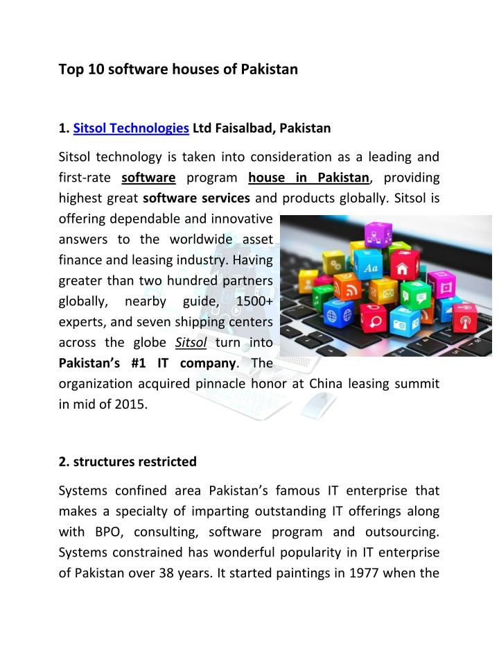 Top 10 software houses of Pakistan