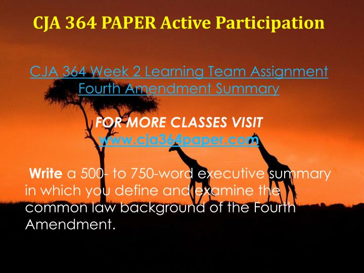 CJA 364 PAPER Active Participation