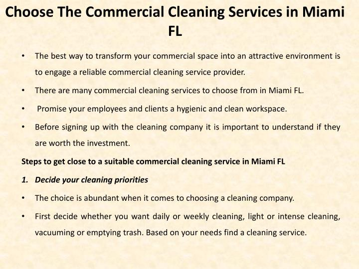 C hoose the commercial c leaning s ervices in miami fl