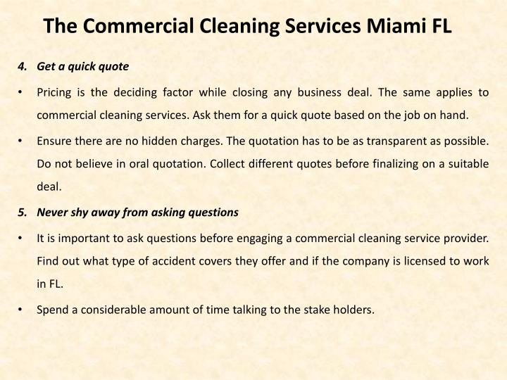The Commercial Cleaning Services Miami FL