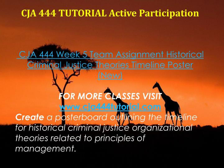 CJA 444 TUTORIAL Active Participation