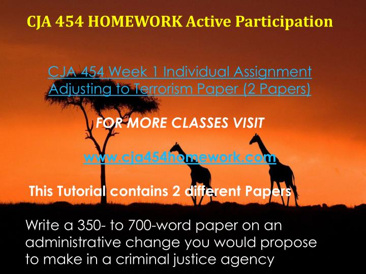 CJA 454 HOMEWORK Active Participation