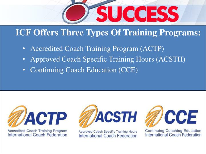 ICF Offers Three Types Of Training Programs: