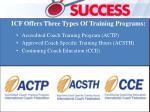 icf offers three types of training programs