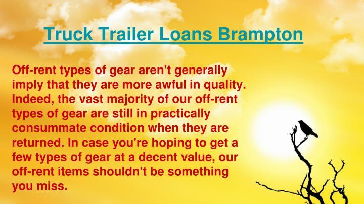 Truck Trailer Loans Brampton