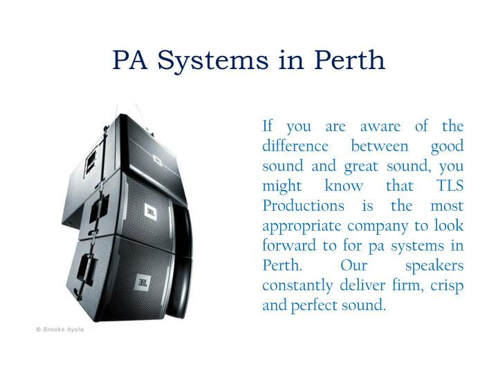 PA Systems in Perth