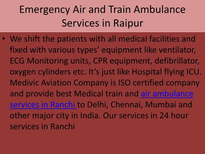 Emergency Air and Train Ambulance Services in Raipur