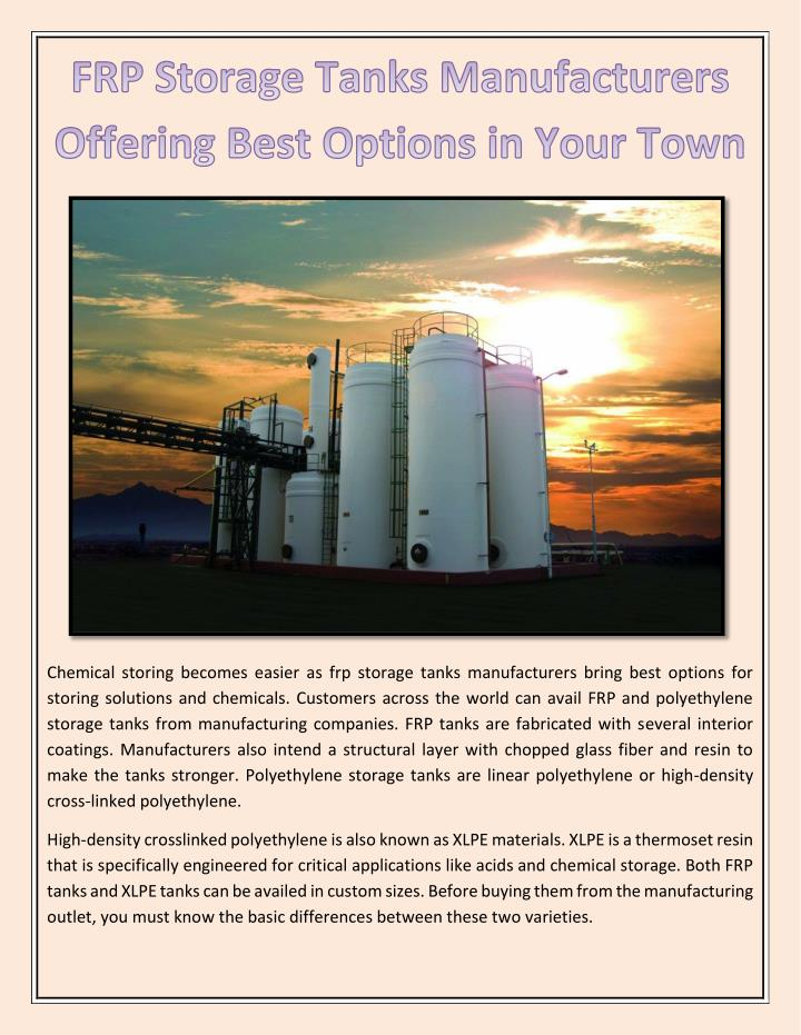 Chemical storing becomes easier as frp storage tanks manufacturers bring best options for